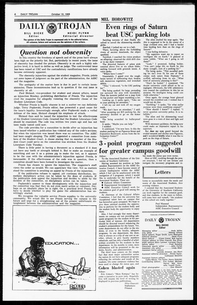 Daily Trojan, Vol. 61, No. 20, October 10, 1969