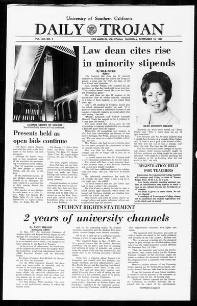 Daily Trojan, Vol. 61, No. 4, September 18, 1969