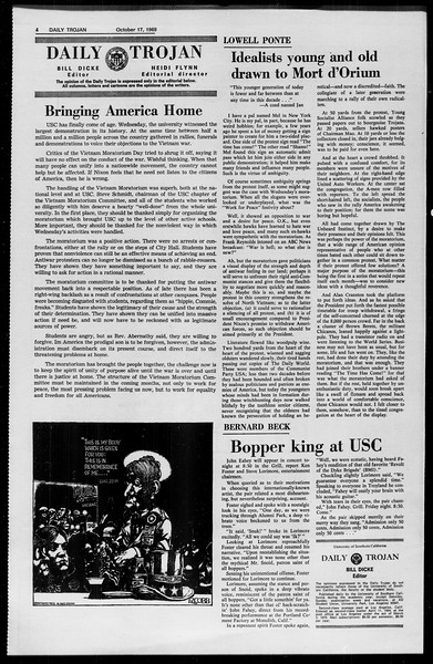 Daily Trojan, Vol. 61, No. 25, October 17, 1969