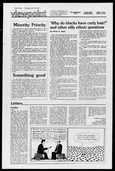 Daily Trojan, Vol. 90, No. 52, April 30, 1981