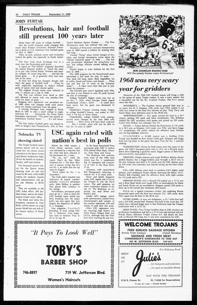 Daily Trojan, Vol. 61, No. 1, September 11, 1969