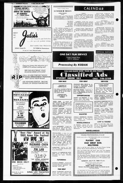 Summer Trojan, Vol. 60, No. 11, July 25, 1969