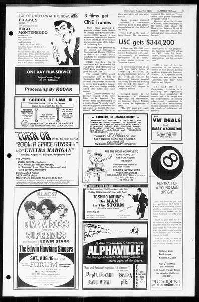 Summer Trojan, Vol. 60, No. 14, August 13, 1969