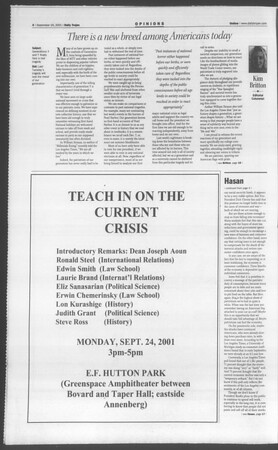 Daily Trojan, Vol. 144, No. 15, September 19, 2001