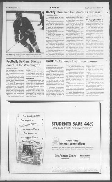 Daily Trojan, Vol. 144, No. 25, October 03, 2001