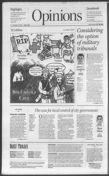 Daily Trojan, Vol. 144, No. 61, November 29, 2001