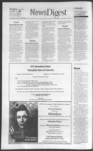 Daily Trojan, Vol. 144, No. 56, November 16, 2001