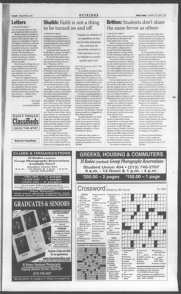 Daily Trojan, Vol. 144, No. 30, October 10, 2001
