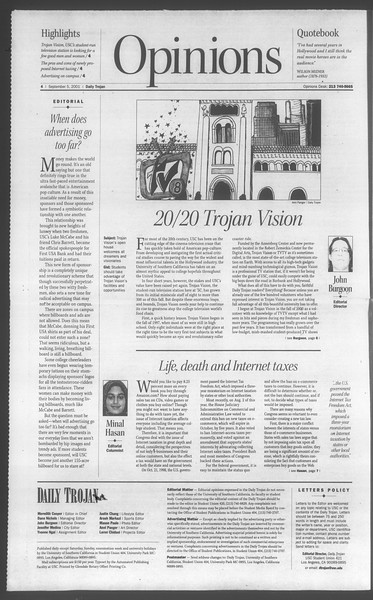 Daily Trojan, Vol. 144, No. 5, September 05, 2001