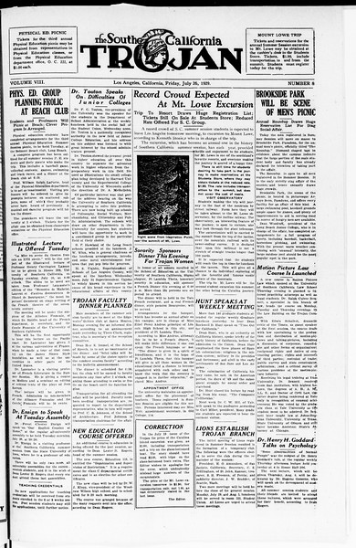 The Southern California Trojan, Vol. 8, No. 8, July 26, 1929
