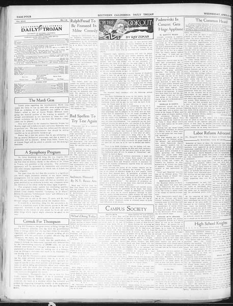 Daily Trojan, Vol. 22, No. 118, April 08, 1931