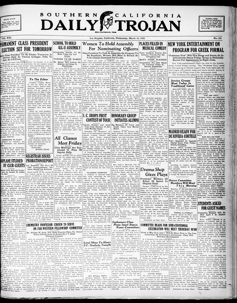 Southern California Daily Trojan, Vol. 21, No. 105, March 19, 1930