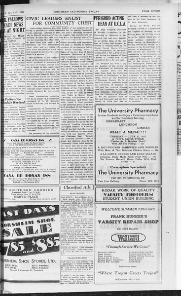 Southern California Trojan, Vol. 10, No. 11, July 27, 1931