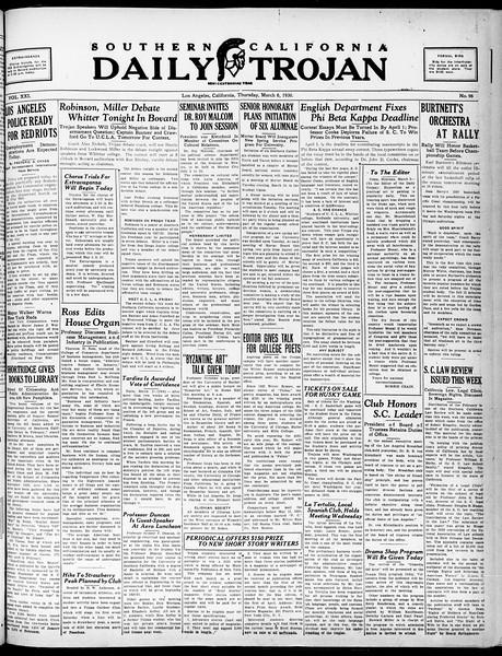 Southern California Daily Trojan, Vol. 21, No. 96, March 06, 1930