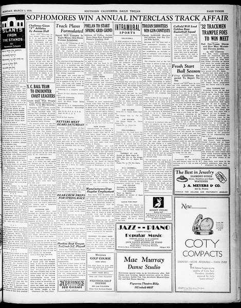 Southern California Daily Trojan, Vol. 21, No. 93, March 03, 1930