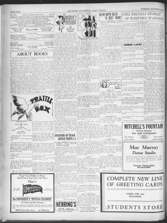 Southern California Daily Trojan, Vol. 21, No. 16, October 08, 1929