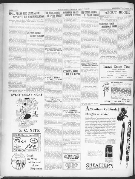 Southern California Daily Trojan, Vol. 21, No. 22, October 16, 1929