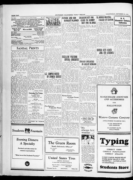 Southern California Daily Trojan, Vol. 21, No. 32, October 30, 1929