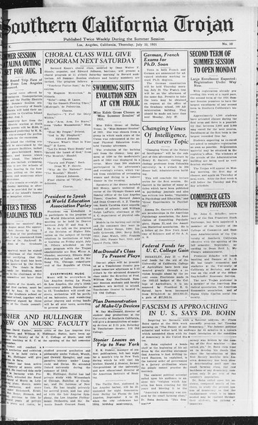 Southern California Trojan, Vol. 10, No. 10, July 23, 1931