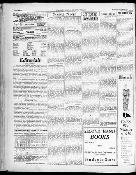 Southern California Daily Trojan, Vol. 21, No. 64, January 09, 1930