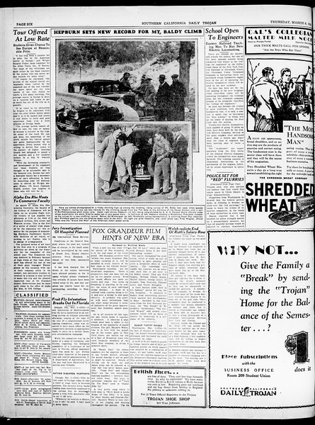 Southern California Daily Trojan, Vol. 21, No. 96, March 06, 1930