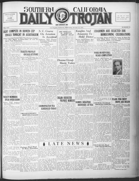 Southern California Daily Trojan, Vol. 21, No. 22, October 16, 1929