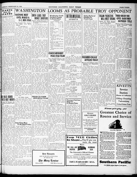 Southern California Daily Trojan, Vol. 21, No. 89, February 25, 1930