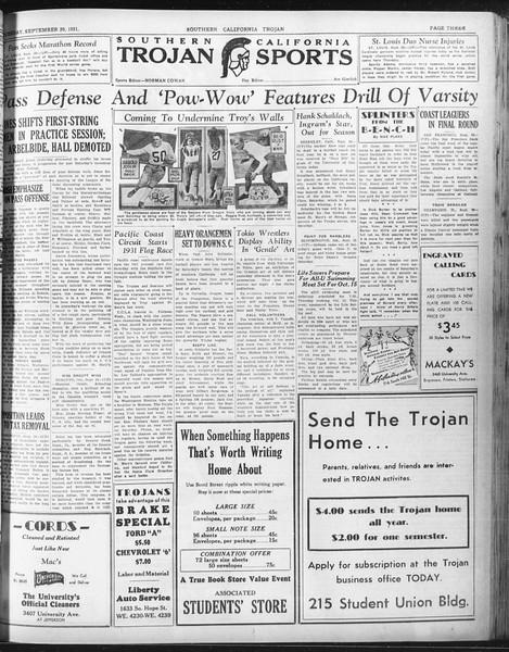 Daily Trojan, Vol. 23, No. 13, September 29, 1931