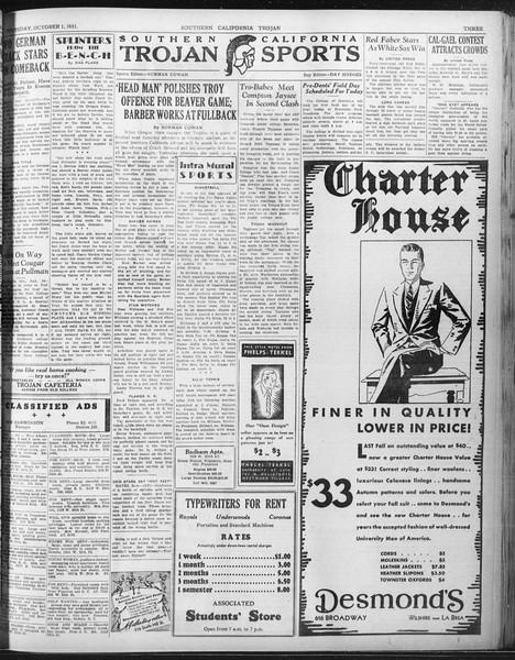 Daily Trojan, Vol. 23, No. 15, October 01, 1931