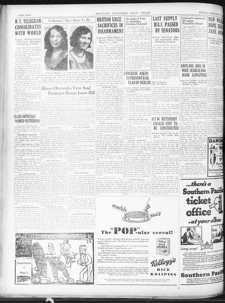 Daily Trojan, Vol. 22, No. 96, February 27, 1931