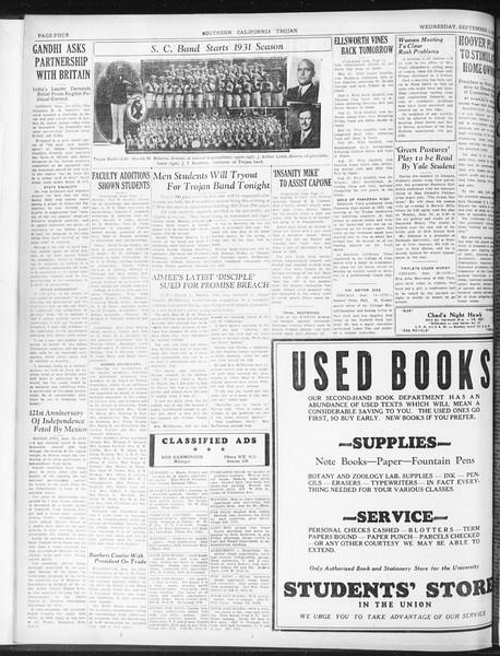 Daily Trojan, Vol. 23, No. 4, September 16, 1931