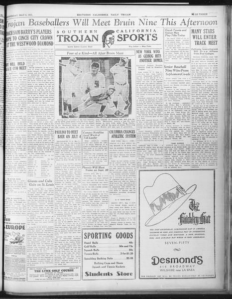 Daily Trojan, Vol. 22, No. 137, May 06, 1931