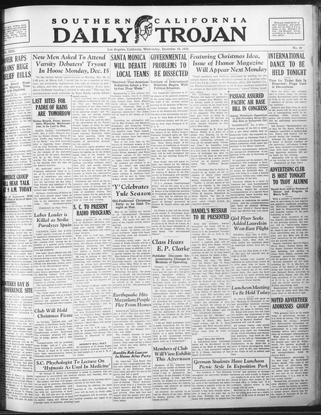 Daily Trojan, Vol. 22, No. 60, December 10, 1930