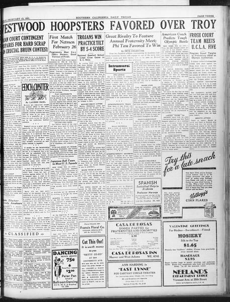 Daily Trojan, Vol. 22, No. 87, February 13, 1931