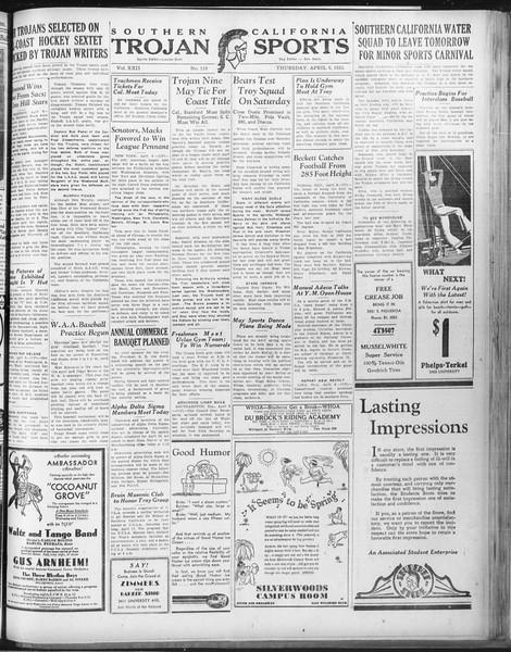 Daily Trojan, Vol. 22, No. 119, April 09, 1931