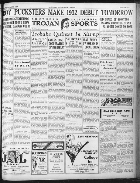 Daily Trojan, Vol. 23, No. 70, January 08, 1932