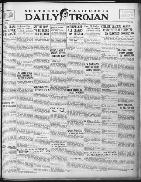 Daily Trojan, Vol. 22, No. 140, May 11, 1931