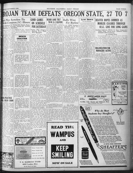 Daily Trojan, Vol. 22, No. 17, October 06, 1930