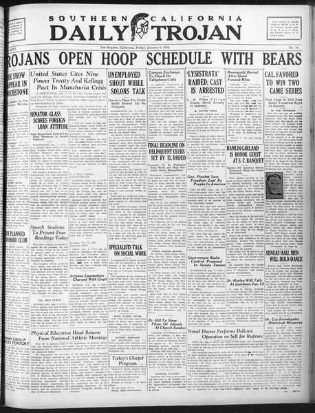 Daily Trojan, Vol. 23, No. 70, January 08, 1932