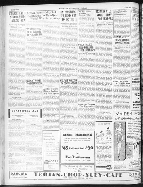 Daily Trojan, Vol. 23, No. 33, October 27, 1931