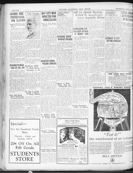 Daily Trojan, Vol. 22, No. 132, April 29, 1931