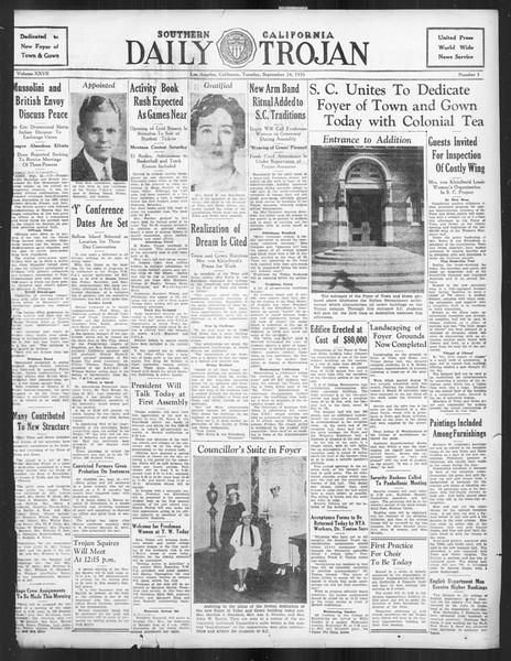 Daily Trojan, Vol. 27, No. 3, September 24, 1935