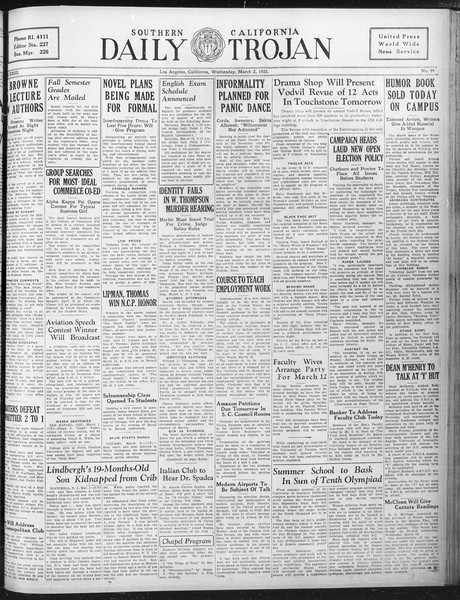 Daily Trojan, Vol. 23, No. 99, March 02, 1932