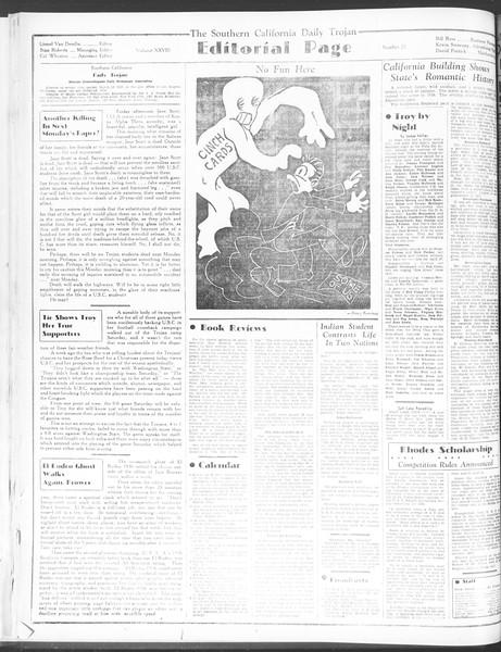 Daily Trojan, Vol. 28, No. 22, October 19, 1936
