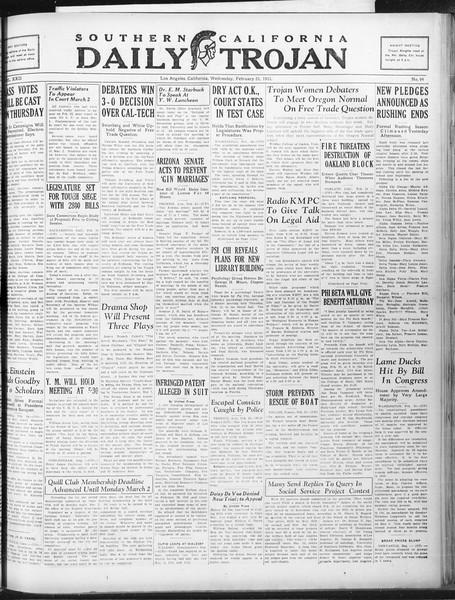 Daily Trojan, Vol. 22, No. 94, February 25, 1931