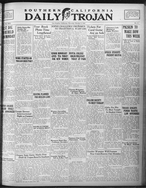 Daily Trojan, Vol. 22, No. 15, October 02, 1930