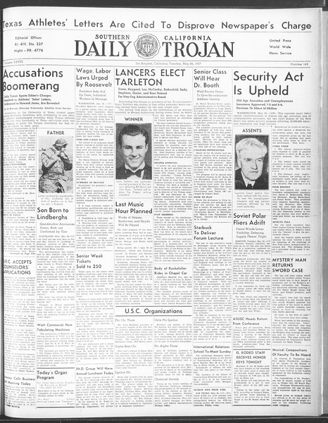 Daily Trojan, Vol. 28, No. 143, May 25, 1937