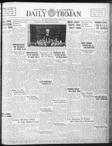 Daily Trojan, Vol. 23, No. 116, April 01, 1932