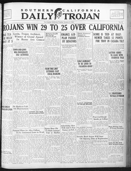 Daily Trojan, Vol. 23, No. 72, January 12, 1932