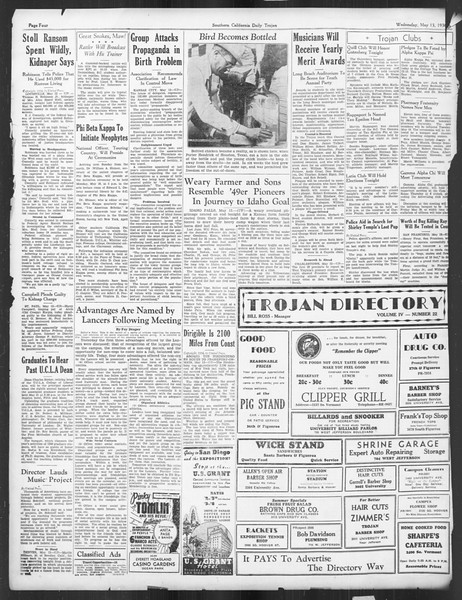 Daily Trojan, Vol. 27, No. 135, May 13, 1936
